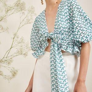 Keepsake The Label Blossom Green Wrap Top Blouse